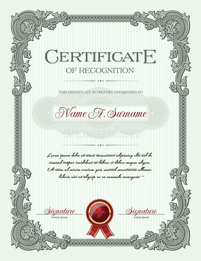 Certificado do retrato da conclusão com quadro do vintage do ornamento floral ilustração stock