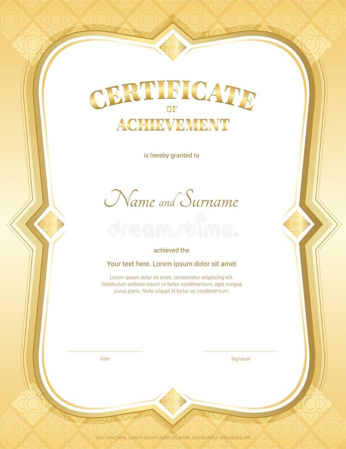 Certificado do retrato do molde da realização no vetor com appl ilustração stock