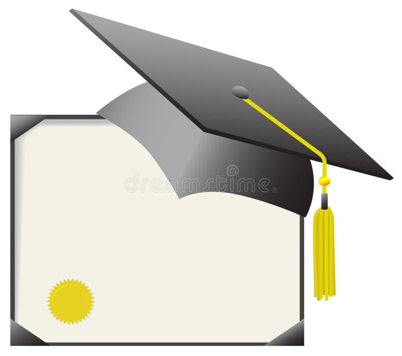 Certificado do tampão & do diploma da graduação do Mortarboard ilustração do vetor