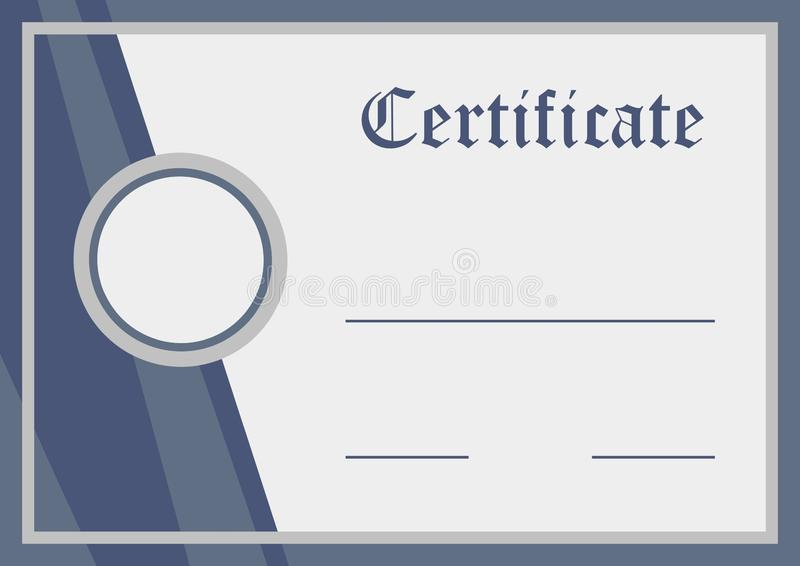 Certificado, documento en blanco, ejemplo del vector ilustración del vector