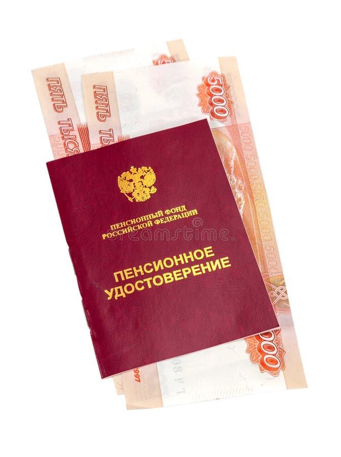 Certificado e dinheiro da pensão do russo foto de stock royalty free