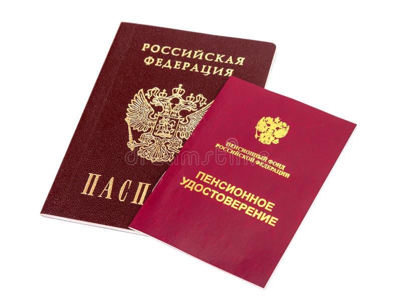 Certificado e passaporte da pensão do russo imagens de stock