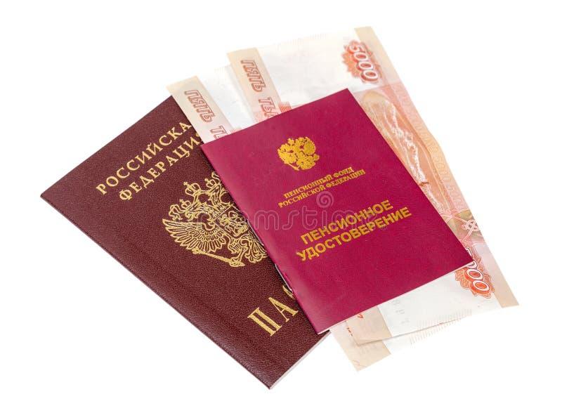 Certificado e passaporte da pensão do russo imagem de stock royalty free