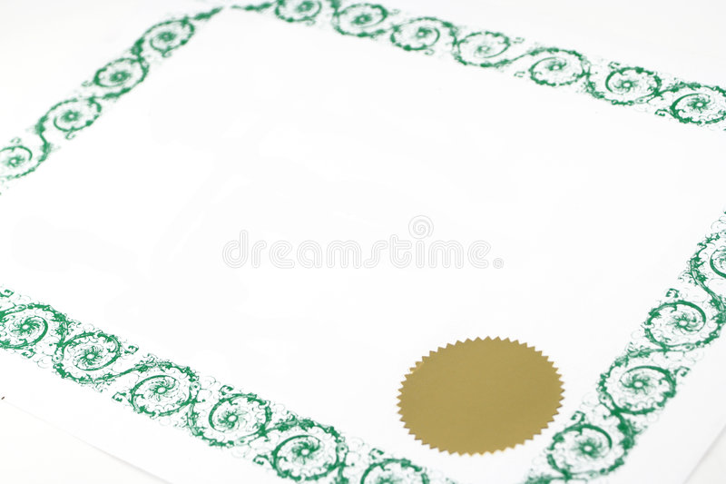 Certificado em branco fotografia de stock royalty free