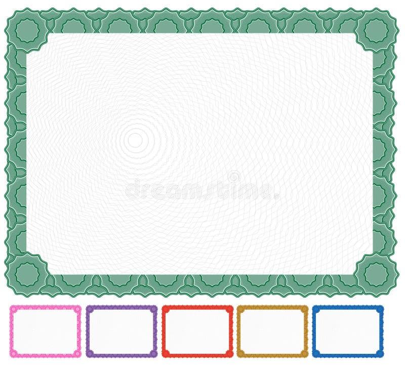 Certificado en blanco - conjunto stock de ilustración