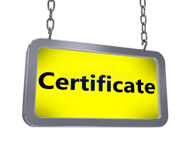 Certificado en la cartelera stock de ilustración