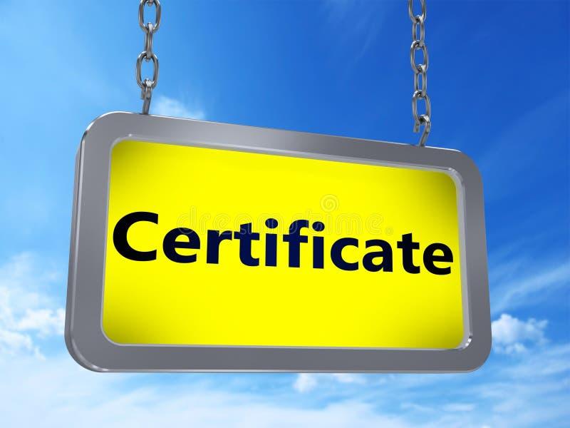 Certificado en la cartelera ilustración del vector