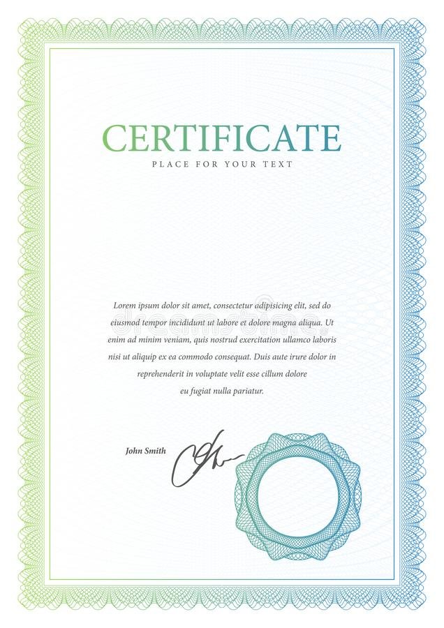 certificado Frontera de la moneda del diploma de la plantilla ilustración del vector