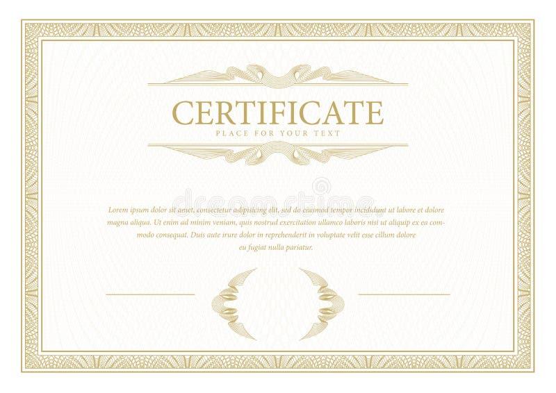 certificado Frontera de la moneda del diploma de la plantilla Vale de regalo del fondo del premio libre illustration