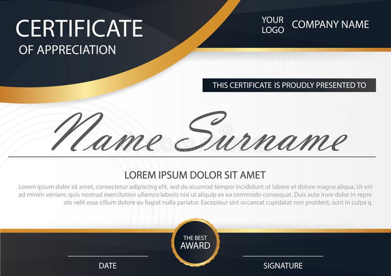 Certificado horizontal da elegância com ilustração do vetor, molde branco do certificado do quadro ilustração stock