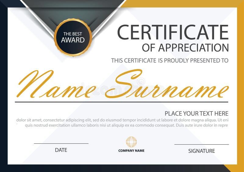 Certificado horizontal da elegância preta amarela com ilustração do vetor, molde branco do certificado do quadro com limpo e o mo ilustração stock