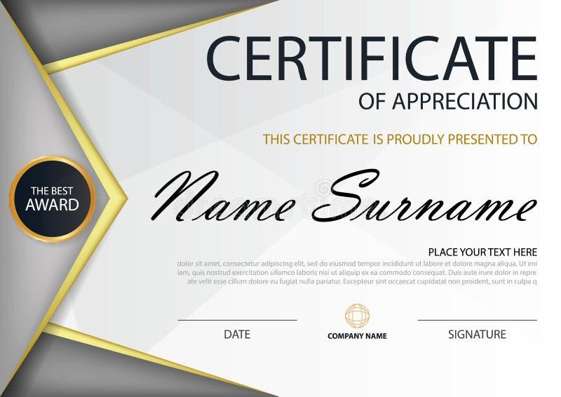 Certificado horizontal de Grey Elegance con el ejemplo del vector, plantilla blanca del certificado del marco con el modelo limpi stock de ilustración