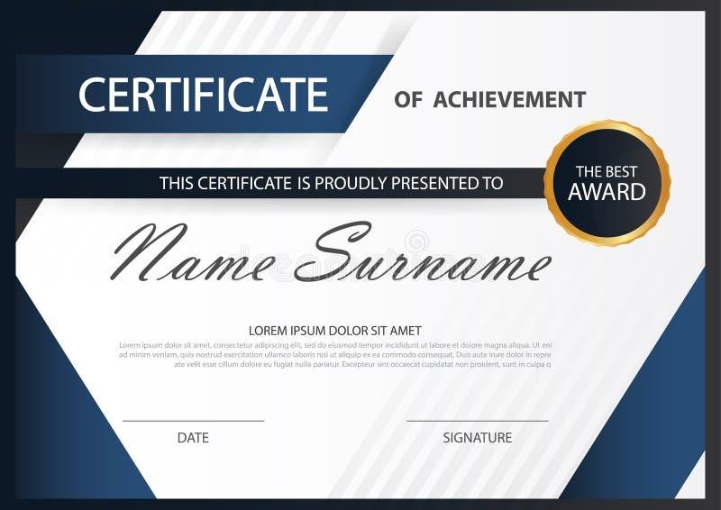 Certificado horizontal de la elegancia azul con el ejemplo del vector, plantilla blanca del certificado del marco stock de ilustración