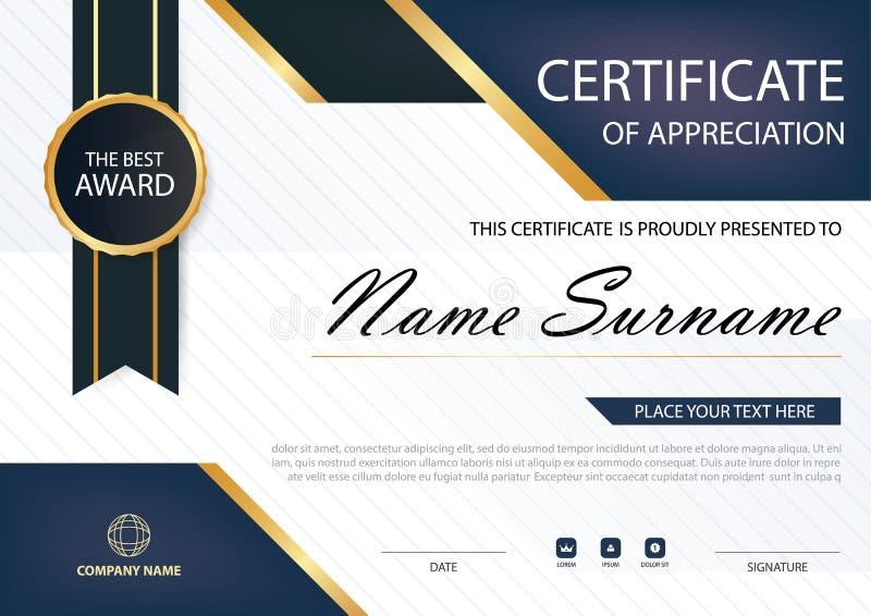 Certificado horizontal de la elegancia azul con el ejemplo del vector, plantilla blanca del certificado del marco con el modelo l libre illustration