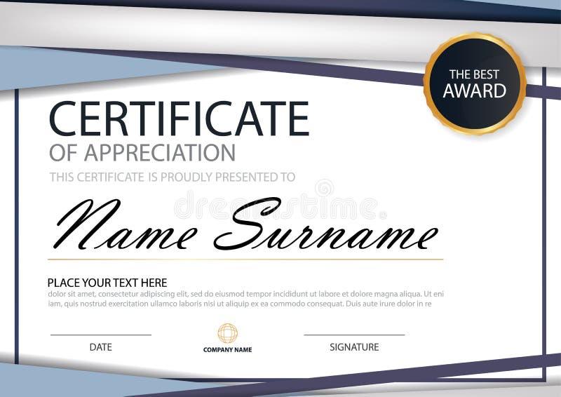 Certificado horizontal de la elegancia azul del triángulo con el ejemplo del vector, plantilla blanca del certificado del marco c stock de ilustración
