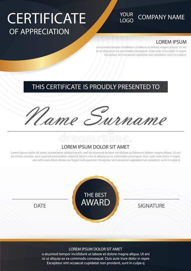 Certificado horizontal de la elegancia con el ejemplo del vector, plantilla blanca del certificado del marco con el modelo limpio libre illustration