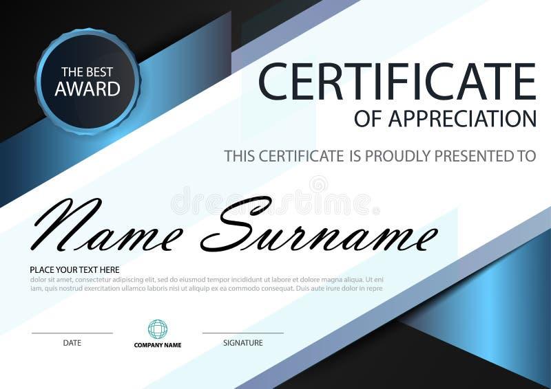 Certificado horizontal de la elegancia del negro azul con el ejemplo del vector, plantilla blanca del certificado del marco stock de ilustración