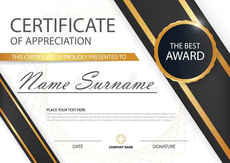 Certificado horizontal de la elegancia negra del oro con el ejemplo del vector, plantilla blanca del certificado del marco ilustración del vector