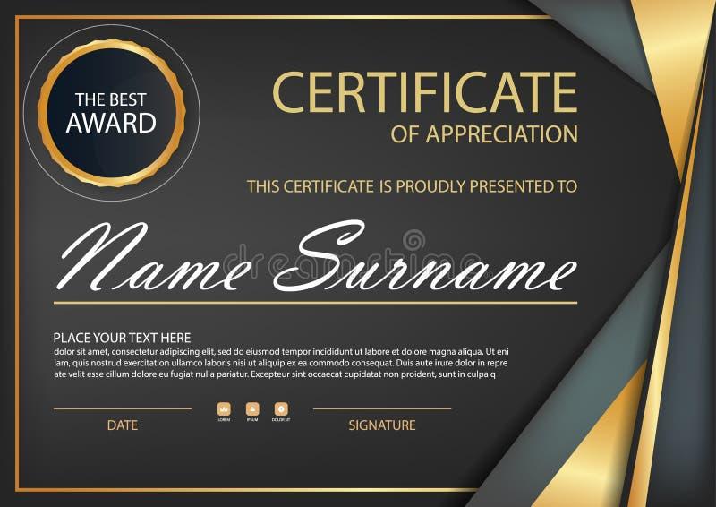 Certificado horizontal de la elegancia negra del oro con el ejemplo del vector, plantilla blanca del certificado del marco con li stock de ilustración
