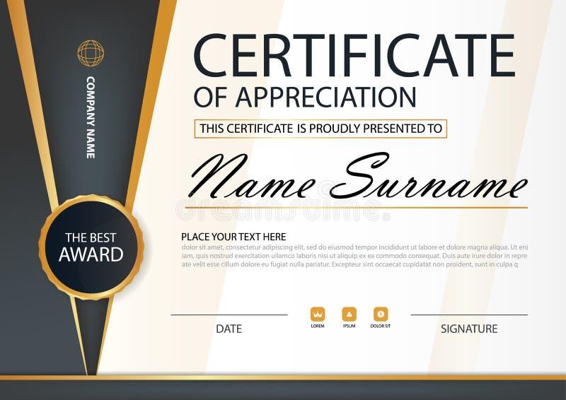 Certificado horizontal del oro y de la elegancia negra con el ejemplo del vector, plantilla blanca del certificado del marco con  stock de ilustración