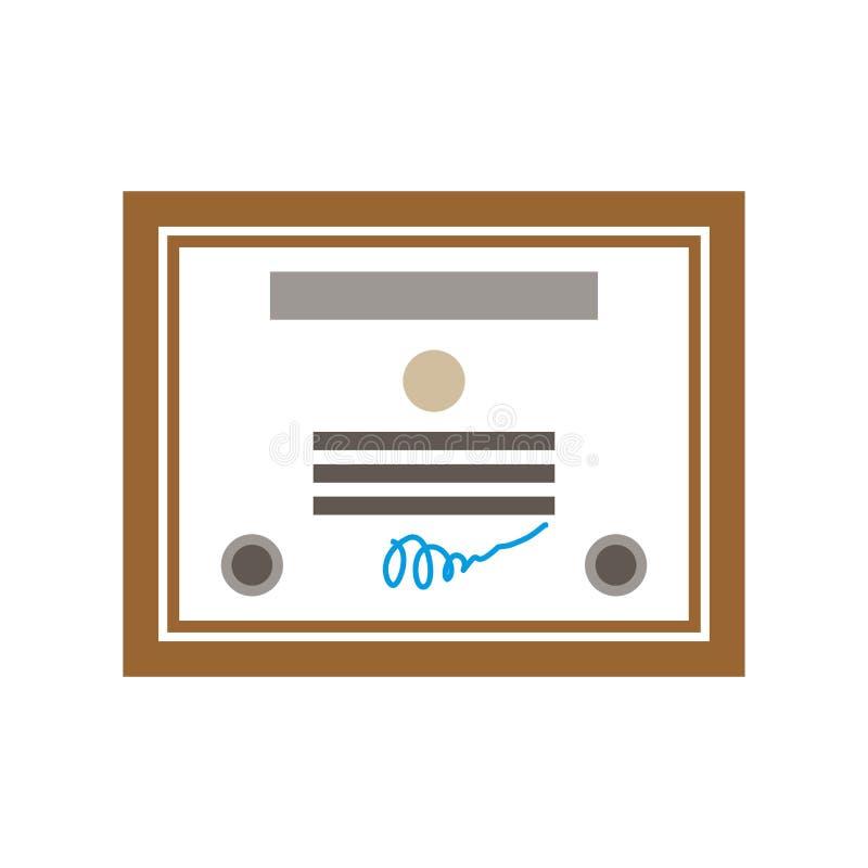 Certificado isolado Sinal do diploma Molde do ícone da concessão Vetor ilustração royalty free