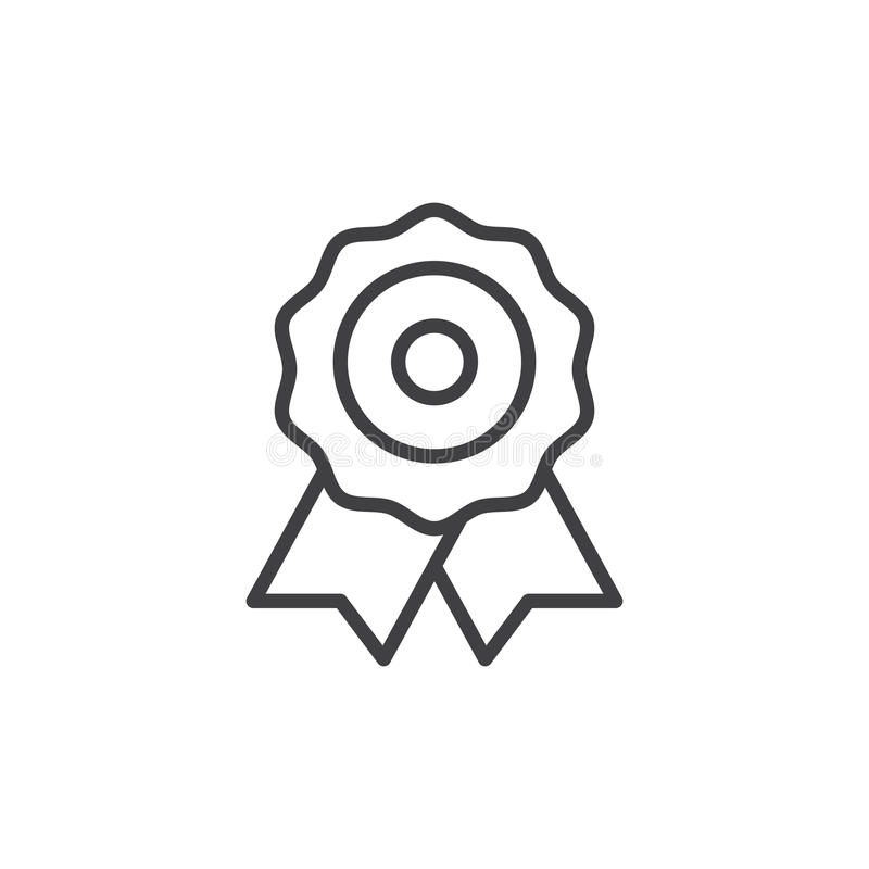 Certificado, línea icono, muestra del vector del esquema, pictograma linear de la medalla del estilo aislado en blanco libre illustration