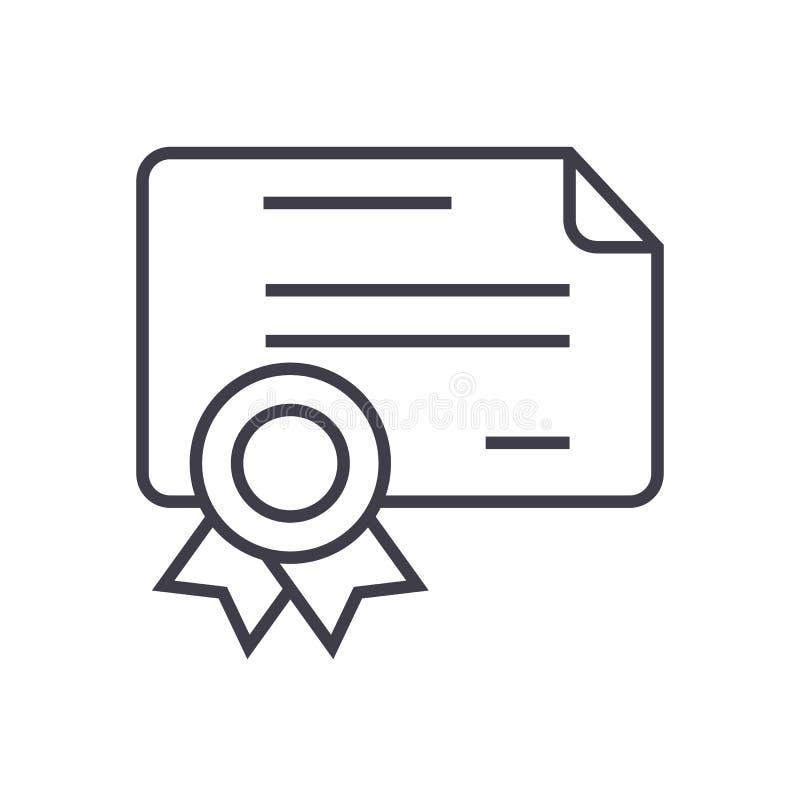 Certificado, línea icono, muestra, ejemplo del vector del diploma en el fondo, movimientos editable ilustración del vector