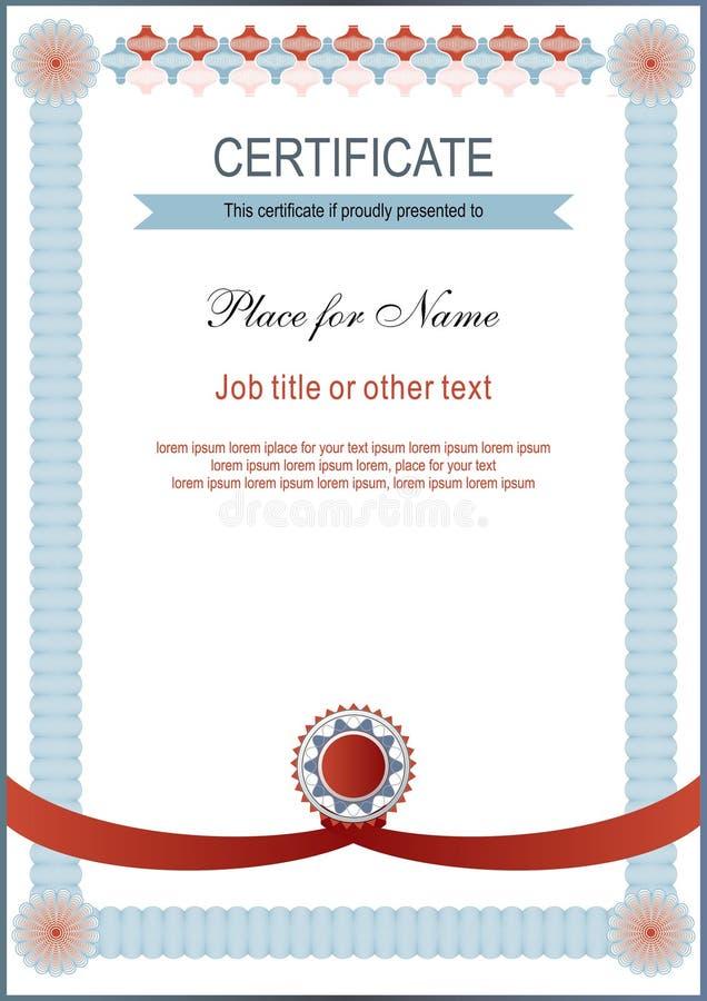 Certificado ligero Espacio en blanco del funcionario Marco azul del cordón ilustración del vector