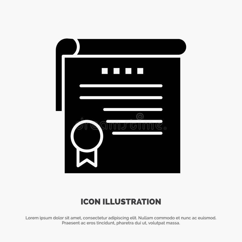 Certificado, logro, grados, icono negro sólido del Glyph del premio libre illustration