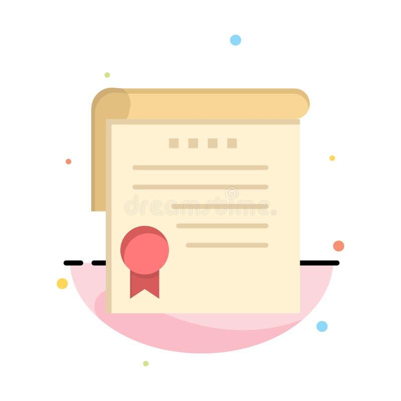Certificado, logro, grados, plantilla plana del icono del color del extracto del premio ilustración del vector