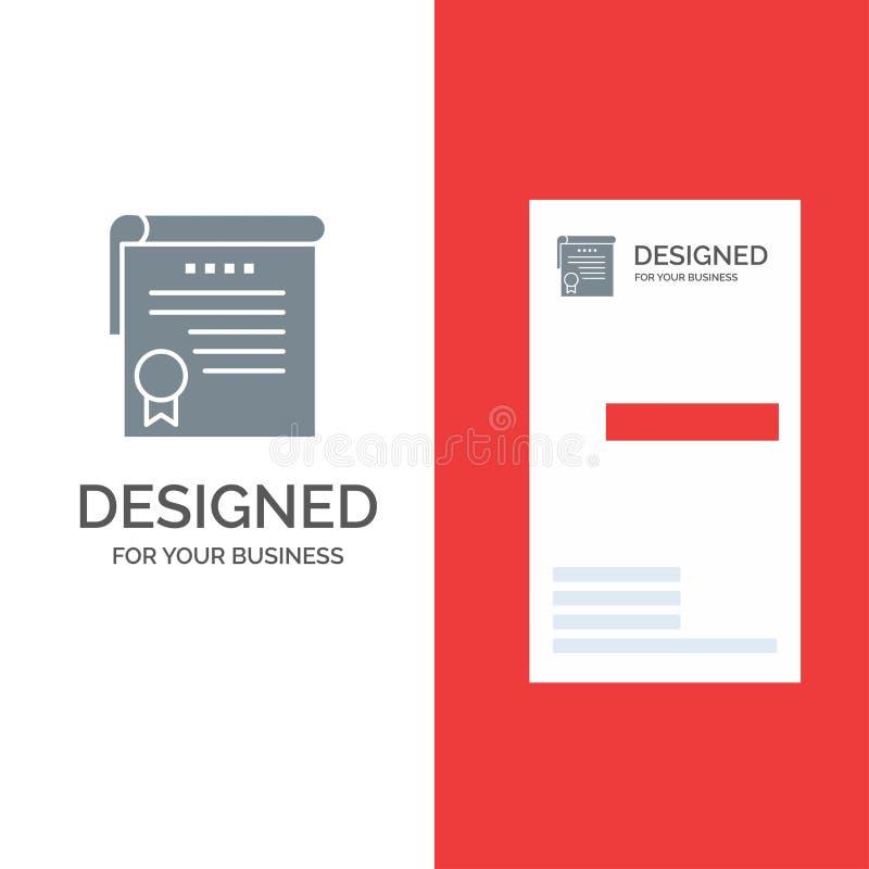 Certificado, logro, grados, premio Grey Logo Design y plantilla de la tarjeta de visita libre illustration