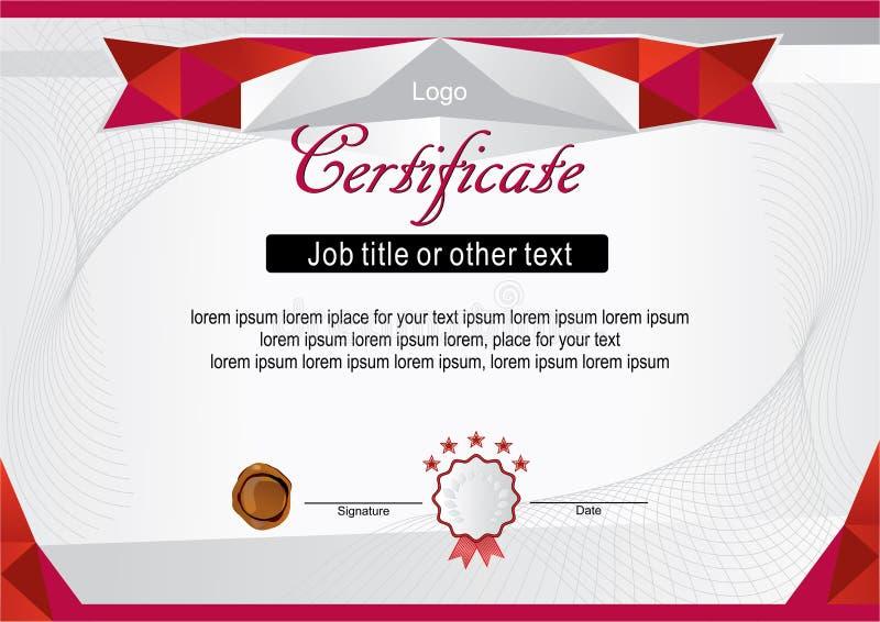 Certificado moderno oficial branco com quadro vermelho ilustração stock