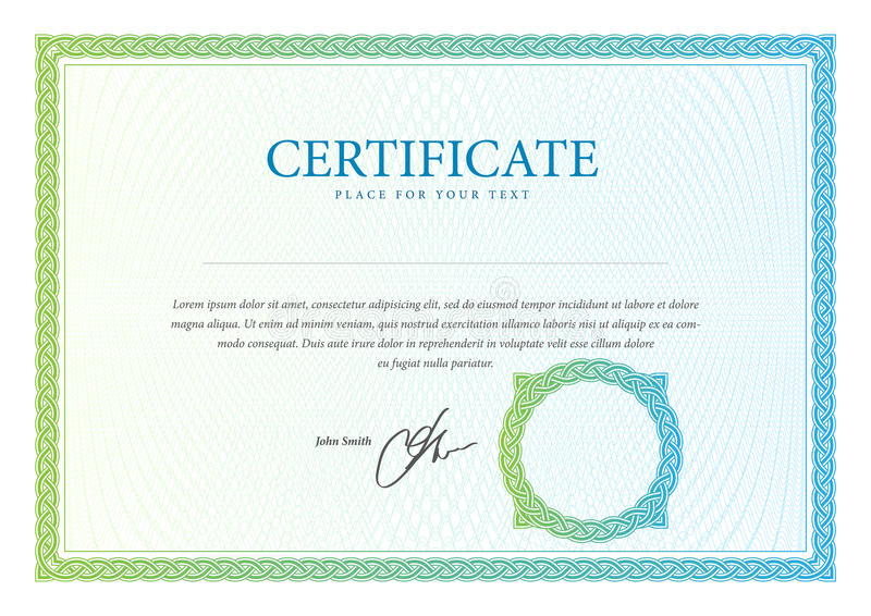 Certificado, moeda e diplomas do molde. ilustração royalty free