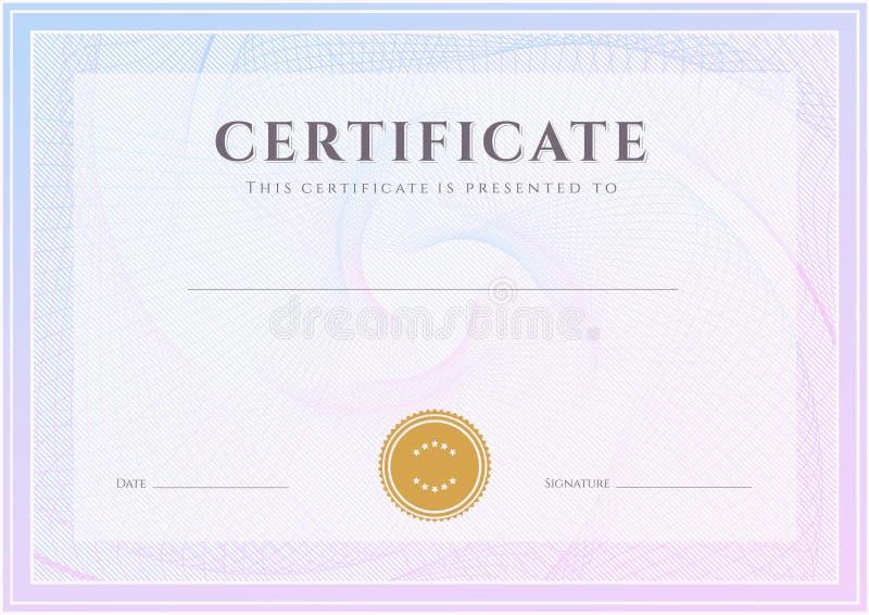 Certificado, molde do diploma. Teste padrão da concessão ilustração stock