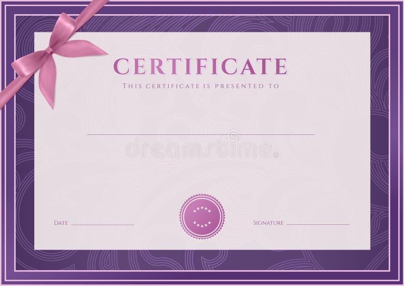 Certificado, molde do diploma. Teste padrão da concessão ilustração do vetor