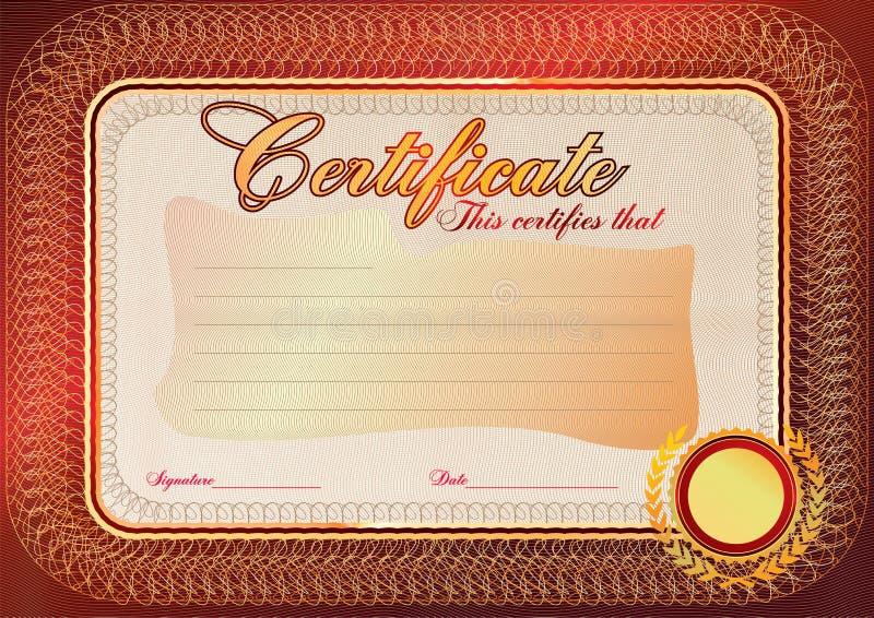 Certificado, molde do diploma Teste padrão da concessão ilustração do vetor