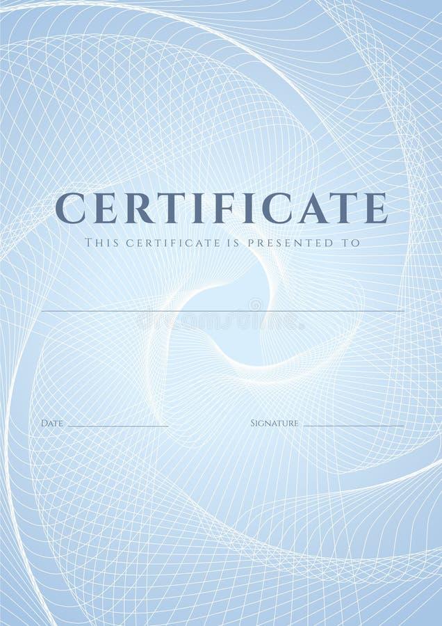 Certificado, molde do diploma. Teste padrão do Guilloche ilustração stock