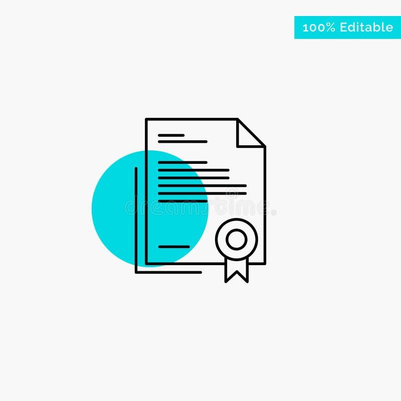 Certificado, negocio, diploma, documento jurídico, letra, icono de papel del vector del punto del círculo del punto culminante de ilustración del vector