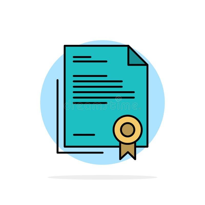 Certificado, negocio, diploma, documento jurídico, letra, icono plano del color de fondo abstracto de papel del círculo libre illustration