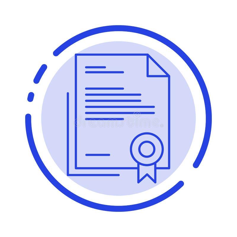 Certificado, negocio, diploma, documento jurídico, letra, línea de puntos azul de papel línea icono stock de ilustración