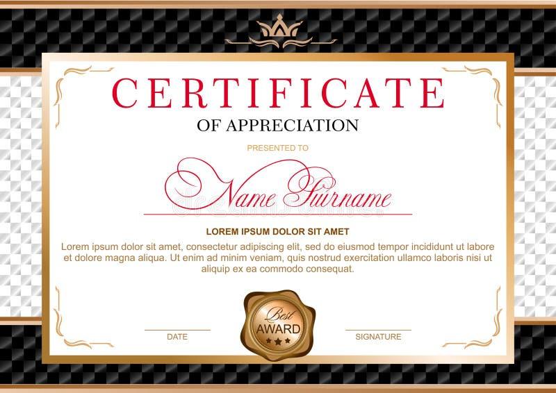 Certificado no estilo oficial, solene, elegante, real ilustração stock