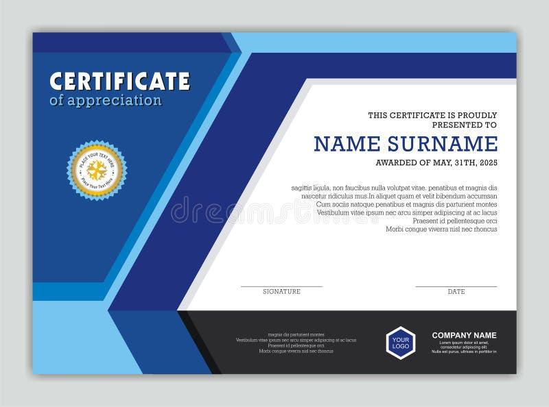 Certificado o diploma moderno con diseño elegante ilustración del vector