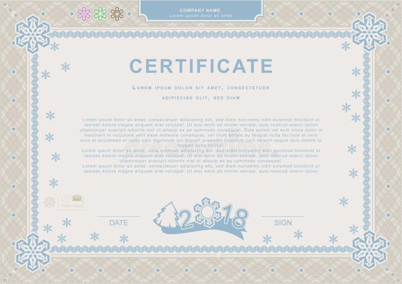 Certificado oficial azul beige de la Navidad Fondo del funcionario de Navidad Frontera del guilloquis con los copos de nieve libre illustration