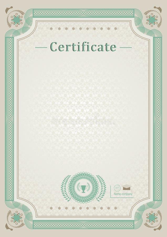 Certificado oficial beige Frontera verde del guilloquis ilustración del vector