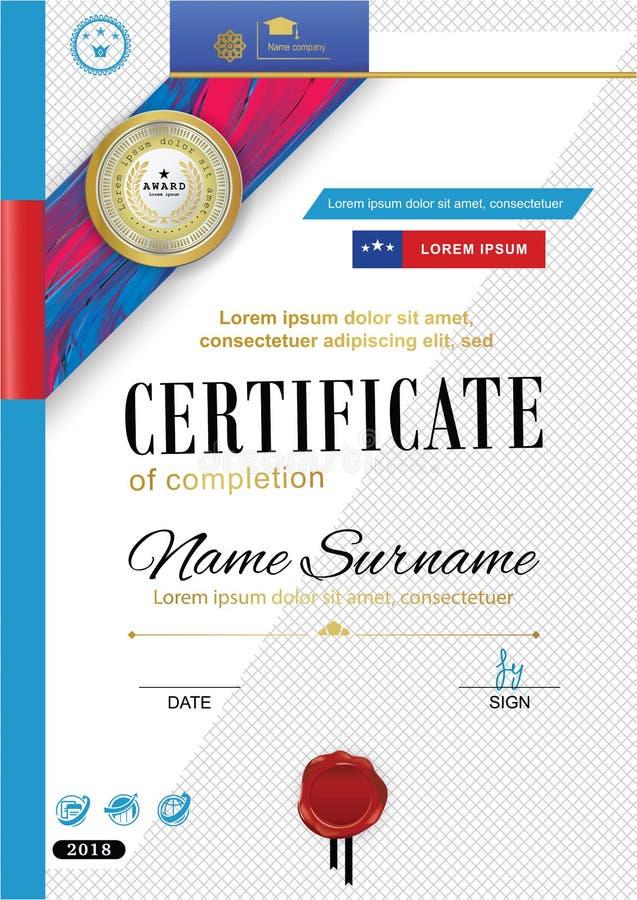 Certificado oficial com crachá, a fita vermelha e a bolacha Elementos abstratos violetas vermelhos brilhantes do projeto no fundo ilustração stock