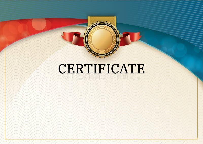 Certificado oficial com elementos vermelhos do projeto da onda de turquesa Emblema vermelho da fita e do ouro Placa vazia moderna ilustração royalty free