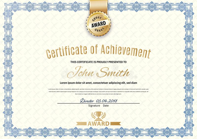 Certificado oficial con la frontera simple azul Dise?o moderno beige del negocio Emblema del oro libre illustration