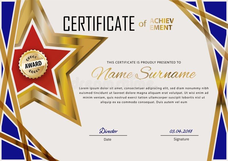 Certificado oficial con los elementos azules del dise?o y la estrella roja del oro Dise?o moderno del negocio Emblema del oro ilustración del vector