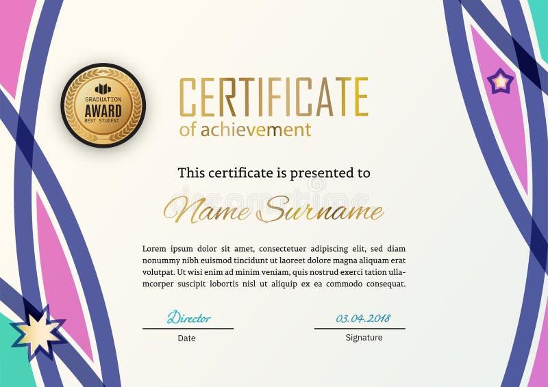 Certificado oficial con los elementos rosados azules del dise?o Dise?o moderno del negocio Emblema del oro stock de ilustración