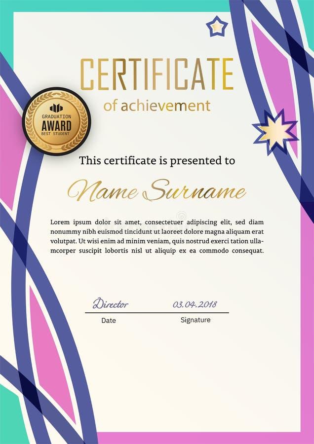 Certificado oficial con los elementos rosados azules del dise?o Dise?o moderno del negocio Emblema del oro libre illustration